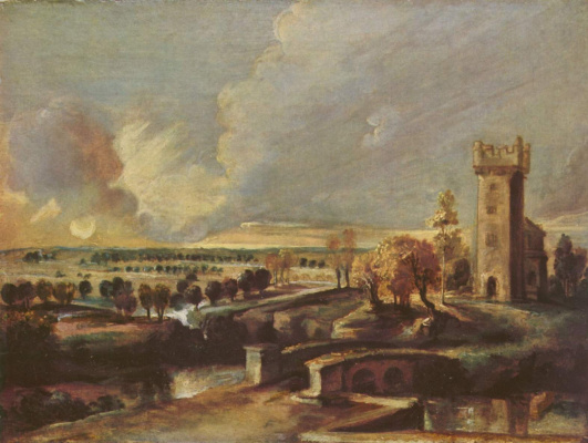 Peter Paul Rubens. Landscape with tower of castle Walls