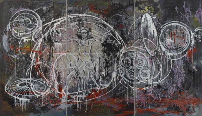 """Tanya Vasilenko. """"Golden ratio"""" triptych, all parts. From """"Time"""" artworks series"""