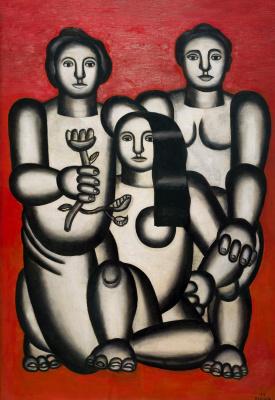 Fernand Leger. Trois femmes sur fond rouge