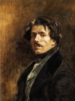 Eugene Delacroix. Self portrait in green vest