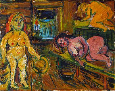 David Davidovich Burliuk. In the bath