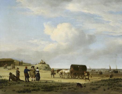 Adrian van de Velde. Scene on the coast in Scheveningen
