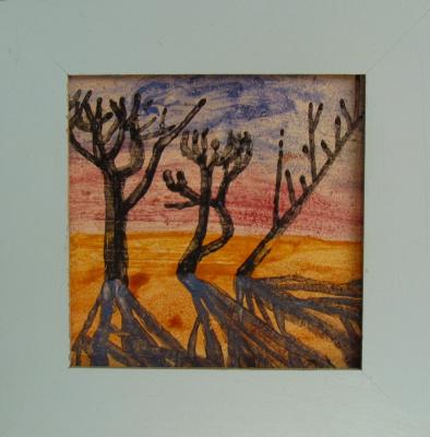 Valentin Vasilyevich Demyanenko. Trees. Painting on keramicheskiy tile.