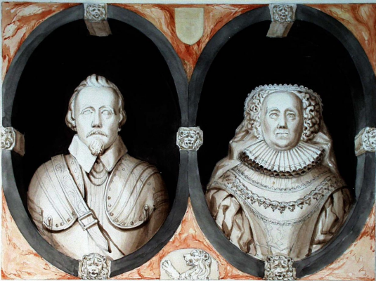 Anthony Frederick Sandys. Portraits of Augustine Palgrave and his wife. Church of North Barningham