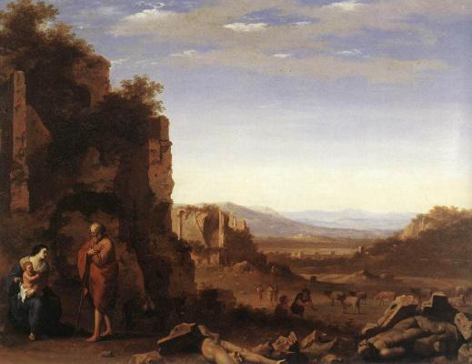 Корнелис ван Пуленбург. Отдых на пути в Египет