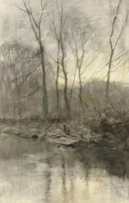 Антон Мауве. Опушка леса у воды