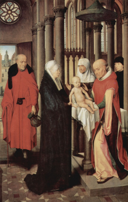 Hans Memling. The offering to the temple. Triptych the adoration of the Magi. The right panel