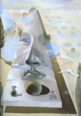 Salvador Dali. The phenomenon of the face of Aphrodite of Cnidus in a landscape
