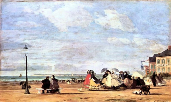 Эжен Буден. Императрица Евгения на морском побережье в Трувиле