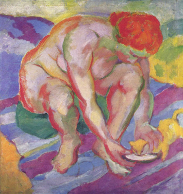 Franz Marc. Nude with a cat