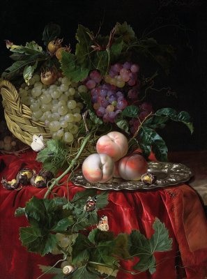 Willem van Aelst. Still life with basket, grapes, chestnuts and peaches on a platter