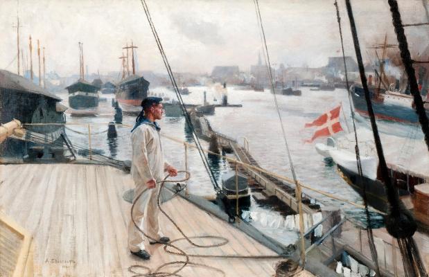 Albert Gustav Aristide Edelfelt. From the port of Copenhagen. About 1889