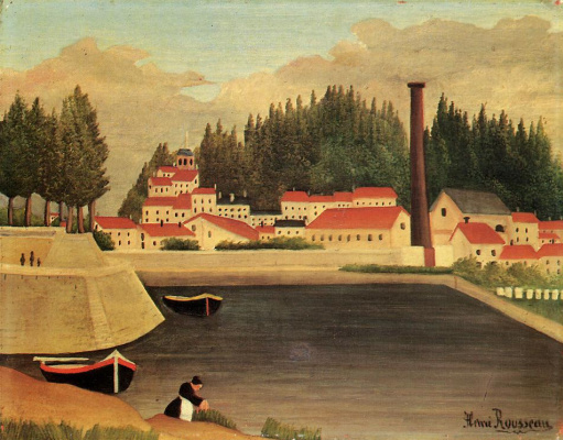 Henri Rousseau. The village next to the plant