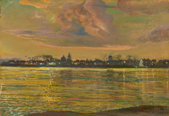 Isaac Brodsky. View of the city from the river bank