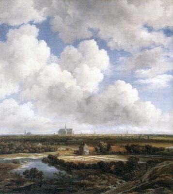 Jakob van Isaacs Ruisdael. Clouds and view of Haarlem