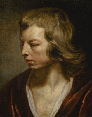 Mikaelina Votier. Study of a young boy turned away, bust-length, with a red cloak