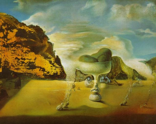Salvador Dali. Invisible Afghan with Apparition, on the Beach, of the Face of Garcia Lorca, in the Form of a Fruit Dish with Three Figs