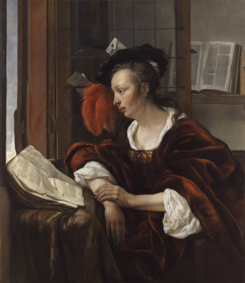 Gabrielle Metsu. Woman reading a book at the window