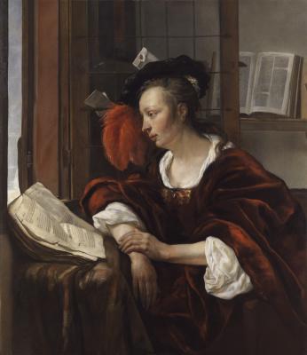 Габриель Метсю. Женщина, читающая книгу у окна