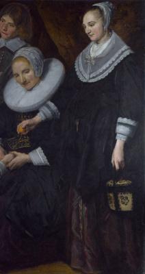 Франс Хальс. Пейзаж с семьей. Фрагмент 3. Портрет двух женщин