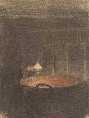 The figure reading at the table in the night interior