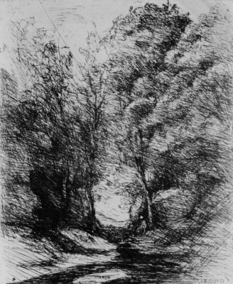 Camille Corot. Stream under the trees