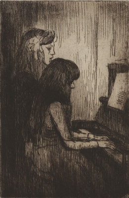 Theophile-Alexander Steinlen. Two girls at the piano