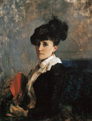 """Peter Nikolay Arbo. """"Eliza Arbo in the Spanish hat"""""""