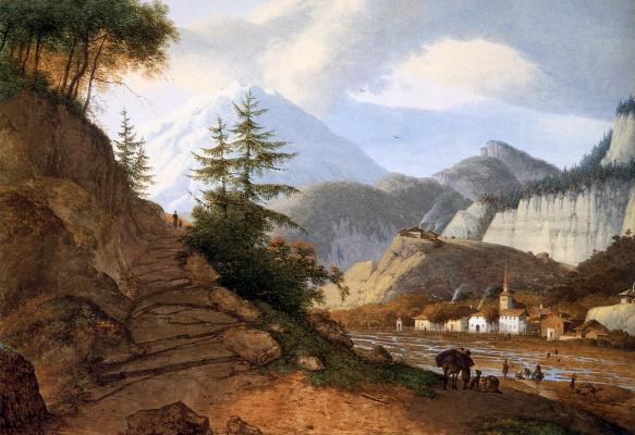 Йозефус Книп. Горный пейзаж с деревней и бродом