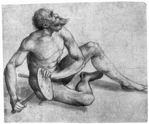 Этюд обнаженного сидящего мужчины