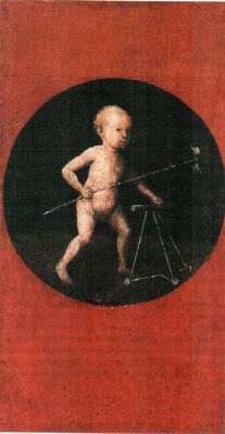 Hieronymus Bosch. Baby Jesus with a Walker. The carrying of the cross. The flip side