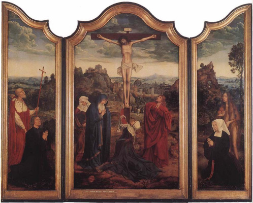 Quentin Masseys. Triptych: Christ on the cross with donators