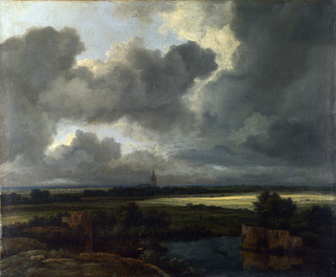 Jakob van Isaacs Ruisdael. Panoramic landscape with ruins