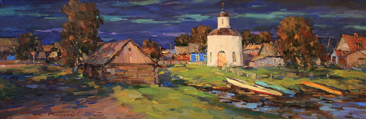 Alexander Victorovich Shevelyov. Evening on Solovki.Hardboard,oil, 27 # 81 see 2012