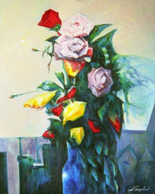 "Andrei Ivanovich Boravik. A copy of Leonid Shchemelev ""Bouquet"" (H. M., 80х100см., 2016.)"