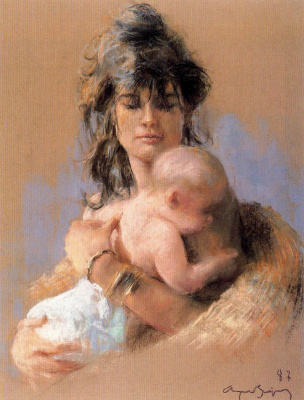 Cayetano de Archer Buigas. The baby in mother's arms