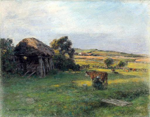 Леон Огюстен Лермитт. Пейзаж с крестьянкой, доящей корову