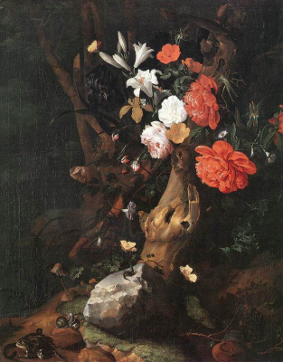 Rachelle Ruysch. Flowers on a tree trunk