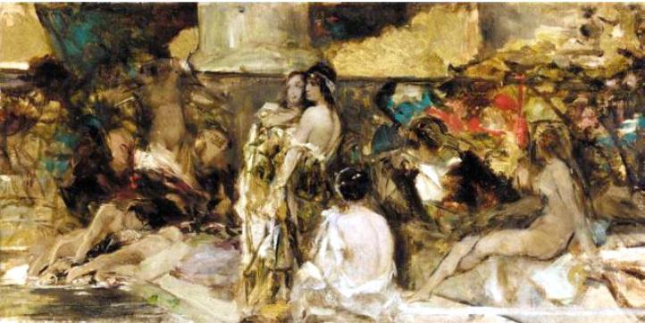Wilhelm Kotarbinsky. The Roman Orgy. Sketch