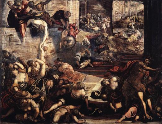 Jacopo (Robusti) Tintoretto. Bruising babies in Bethlehem