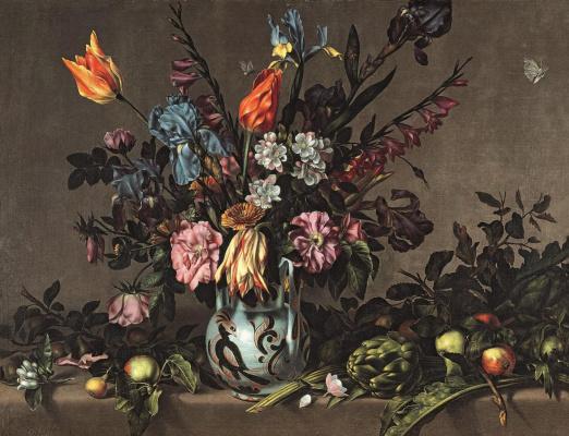 Антонио Понсе. Натюрморт с артишоками и талаверская ваза с цветами
