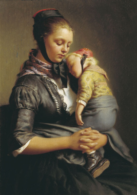 Evgraf (Gerard) Romanovich Reitern. German peasant woman with a child.