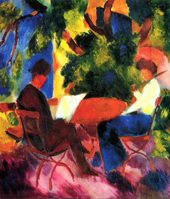 August Macke. Couple at garden table