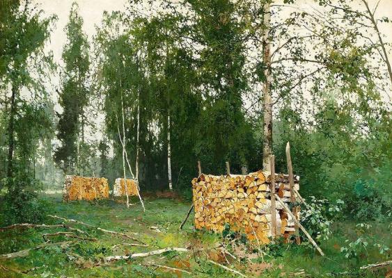 Андрей Николаевич Шильдер. Весенний лес.Березовые бревна.