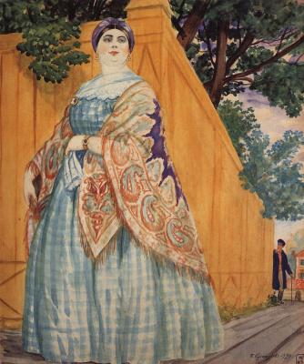 "Boris Mikhailovich Kustodiev. Merchant's wife on the walk. From the series ""Russia. Russian types"""