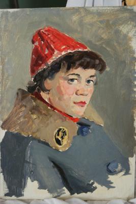 Николай Петрович Рябов. Дама в красной шапке