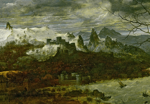 "Pieter Bruegel The Elder. Dark day. Cycle ""Seasons"". February and early spring. Fragment 1. Mountains"
