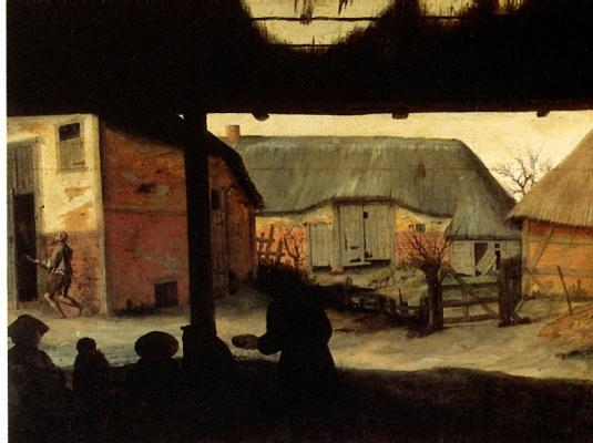Корнелис Ван Далем. Сельский двор с нищим