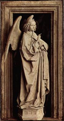 Ян ван Эйк. Благовествующий ангел. Тиссен-Благовещение