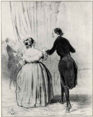 "Honore Daumier. At a charity celebration: ""Madam, we danced to the poor, let us drink champagne for a good cause!"""
